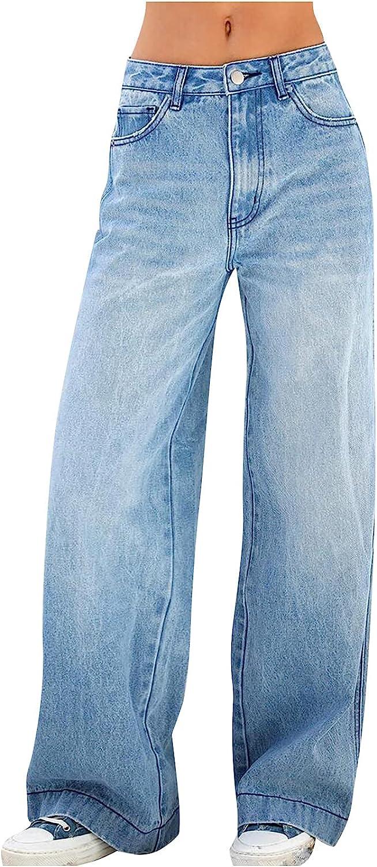 Women's Mid Ripped Denim Frayed Hem Casual Jeans Denim Trousers