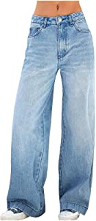 Women's Casual Denim Pants High Waisted Wide Leg Boyfriend Jeans Bootcut Jeans with Pocket Plus Size Jeans for Women