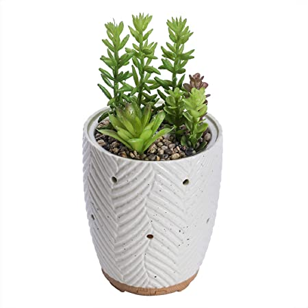 Essential Oil Diffuser, Artificial Succulent Plants Potted Diffusers for Essential Oils with 7 Colors LED Light,Ceramic Cool Mist Super Quiet Aromatherapy Diffuser for Home Office Bedroom