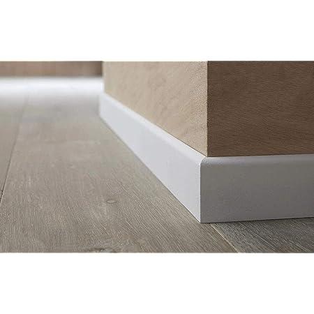 Lot de 5 Long.1m x Haut Plinthe PVC Creuse Passe C/âble Blanc 80mm x Ep.15mm MMD