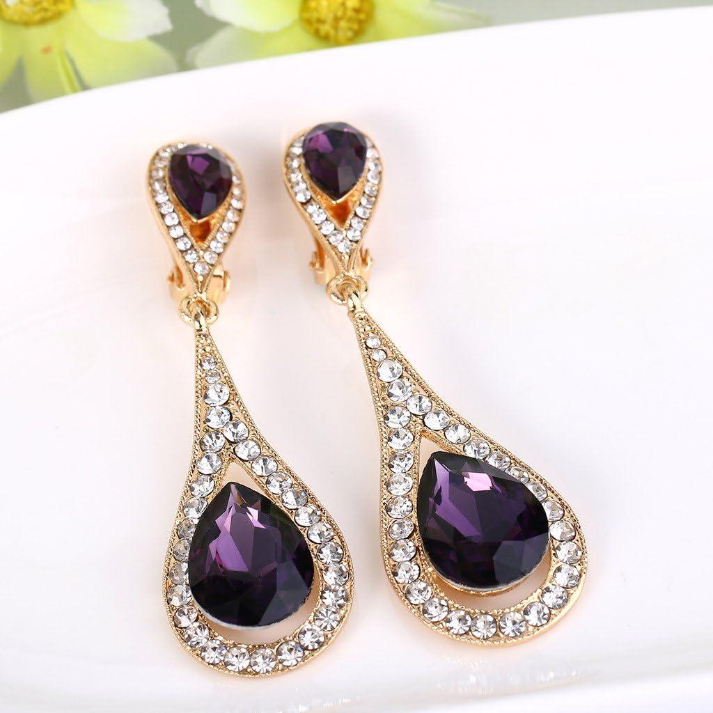 EVER FAITH Women's Austrian Crystal Elegant Dual Tear Drop Clip-on Dangle Earrings