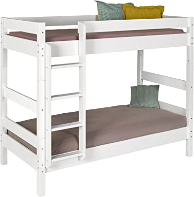 IDKIDS Litera con colchón – 80 x 190 – Madera Maciza Blanco