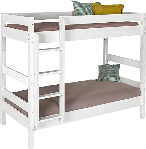 IDKID'S Etagenbett mit Matratze, 90 x 190 cm, Massivholz, Weiß