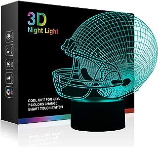 Tiscen 3D Illusion Night Light, LED Table Desk Lamps, Football Helmet Nightlights, 7 Colors USB Charge Lighting Bedroom Home Decoration for Kids Bedroom