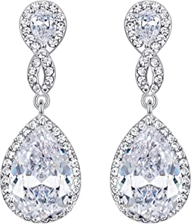 EVER FAITH Zircon Austrian Crystal Wedding 8-Shape Dangle Earrings Clear Silver-Tone