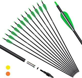 KESHES Archery Carbon Arrows for Compound & Recurve Bows – 30 inch Youth Kids..