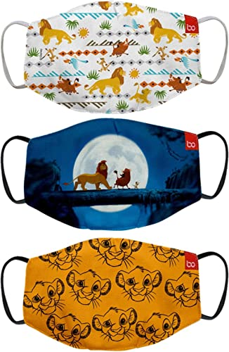 Bon Organik Lion King Official Merchandise 2 Ply Printed Cotton Cloth Face Mask Bundle for Kids (Multicolour, 9-12 Ye...