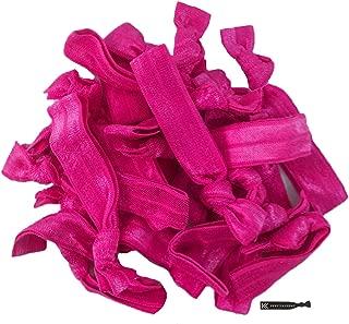 Hair Ties 20 Elastics Ponytail Holder Set No Crease Ribbon Bands (Pink)