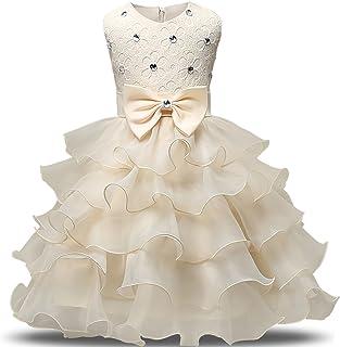 86c27f0fb28f NNJXD Vestito da Ragazza Festa in Pizzo per Bambini Abiti da Sposa