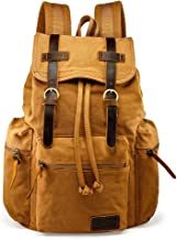 GEARONIC TM 21L Vintage Canvas Backpack for Men Leather Rucksack Knapsack 15 inch Laptop Tote Satchel School Military Army Shoulder Rucksack Hiking Bag Yellow