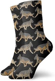 Trotting German Shepherd Dog Casual Fashion Crew socks Casual Funny For sports boot hiking running etc.