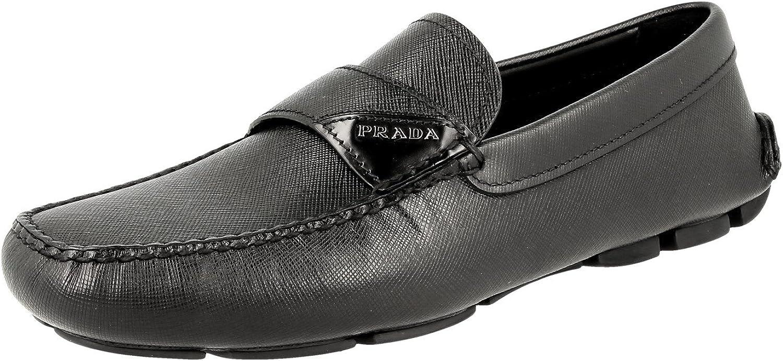 Prada Men's 2DD125 MGV F0002 Saffiano Leather Loafers