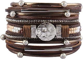Jeilwiy Leather Wrap Bracelet Braided Cuff Bangle Tube...