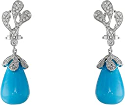 Miseno Sea Leaf Turquoise/Diamond Earrings