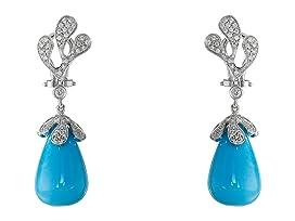 Sea Leaf Turquoise/Diamond Earrings