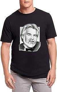 Hombre Black Camiseta T-Shirt Kenny Rogers Art Tops Short Sleeve Camiseta T-Shirt
