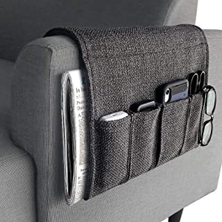 YJLWE Remote Storage Organizer for Recliner Couch Durable 5 Pockets Armchair Caddy Organizer for Sofa Non-Slip - Dark Grey