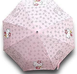 Finex Hello Kitty Pink Manual Tri-fold Folding Compact Travel Rain Umbrella UV Protection Strong Windproof