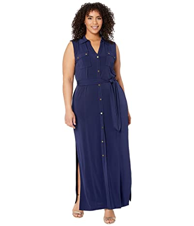 MICHAEL Michael Kors Plus Size Sleeveless Maxi Shirtdress (True Navy) Women