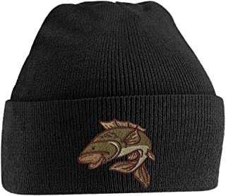 Beanie Hats for Men Carp Fishing Beanies Embroidered Animal Knitted Wooly Hat One Size Fits All Beanie Fishermans Hat