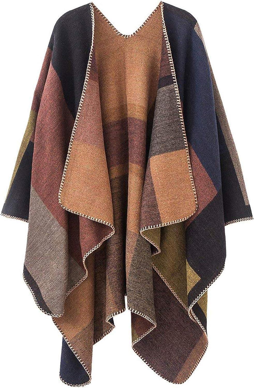 Women's Plaid Sweater Poncho Cape Gorgeous Shawls Coat Front Blanket Recommendation Open