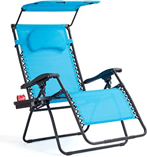 Goplus Folding Zero Gravity Lounge Chair Wide Recliner for Outdoor Beach Patio Pool w/Shade Canopy (Blue Zero Gravity Chair)
