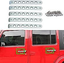 Aluminum Side Door Grab Handle Knobs Cover Trim 5pcs/Set Compatible with 2007-2018 Jeep Wrangler JK JKU & Unlimited 4 Door Handle Pull (Silver)