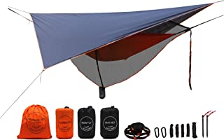 LAZZO Camping Hammock Set All-Inclusive,Single Hammock,Bug Net,Tarp,Suspension,Guyline,Stakes and Backpack,Perfect for Backpacking,Camping,Hiking & Yard