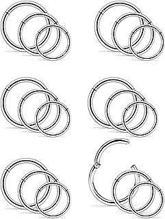 Vsnnsns 14G Stainless Steel Hinged Clicker Ring Nose Hoop Septum Segment Ring Hoop Lip Ring Piercing Cartilage Tragus Slee...