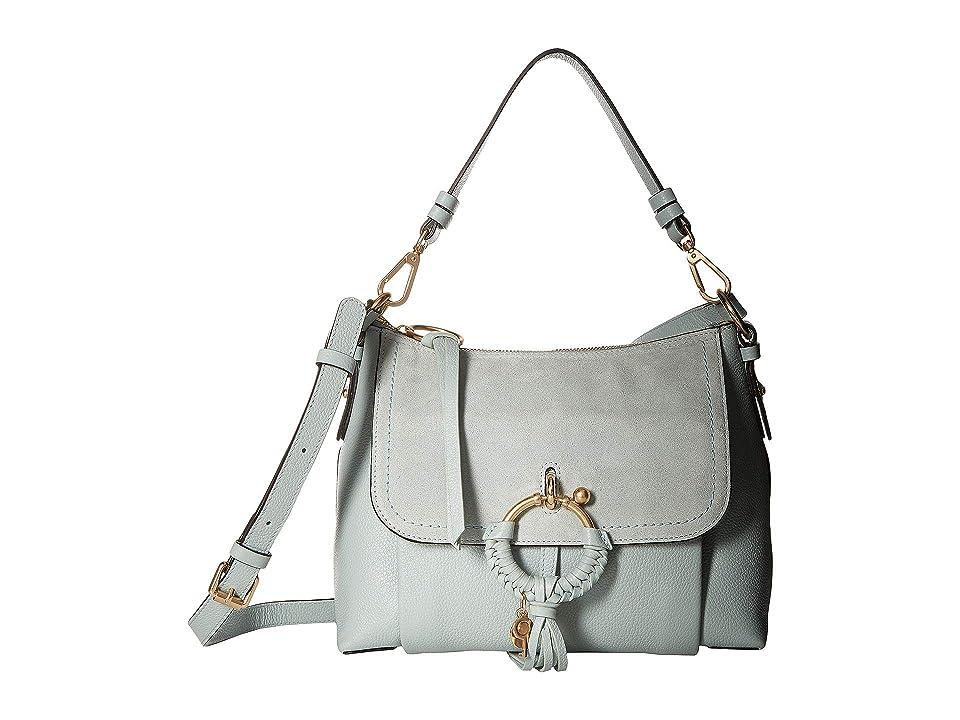 See by Chloe Joan Suede Leather Small Shoulder Bag (Icy Blue) Shoulder Handbags