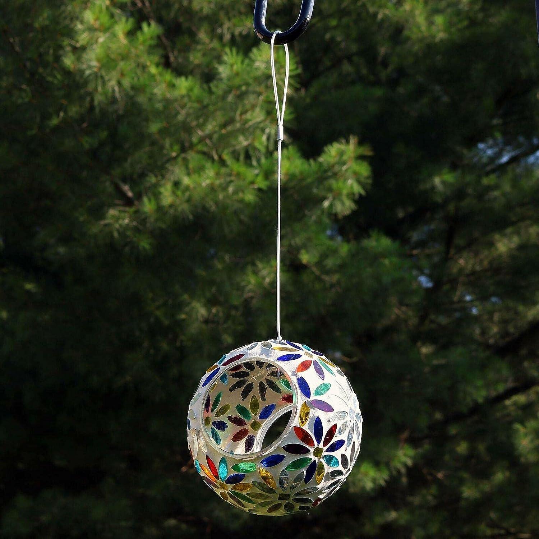 Hanging Bird Feeder Rainbow Daisies Mosaic Fly-Through Design - 6