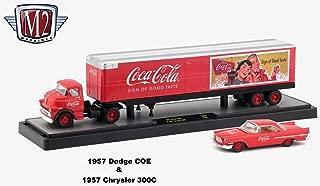 M2 Machines 1957 Dodge COE and 1957 Chrysler 300C (Coke Red) Auto-Haulers Coca-Cola Release 2 Castline 2018 Premium Edition 1:64 Scale Die-Cast Vehicle Set