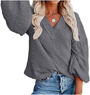 Coolred Women V-Neck Baggy Style Cozy Puff Sleeve Knitted Pocket Top