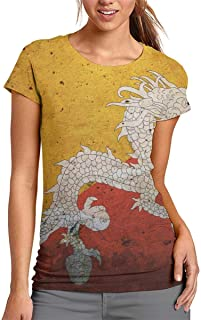 HRYKJ Women's Short Sleeve T-Shirt,Dragon of Bhutan Flag Summer Crew Neck Tshirt,Comfy Breathable Polyester Casual Tops