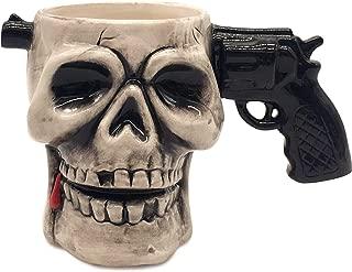 Decodyne Skull Funny Coffee Mug - Halloween Decoration, 3D Ceramic Head Spooky and Scary Candy Bowl or Novelty Cute Drink Mugs (Gun)
