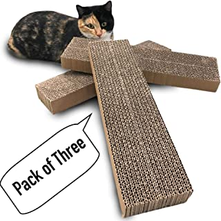Catry Pack of 3, Cat Scratcher, Replacement Cardboard, Cat Scratching Pad, Paper Cardboard, Individual Uses or for Replacement Parts. Size of 15.4in x 3.9in x 1.5in