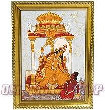 Om Pooja Shop Bagalamukhi MATA Photo in Wooden Frame for Das Mahavidya Worship (Golden)
