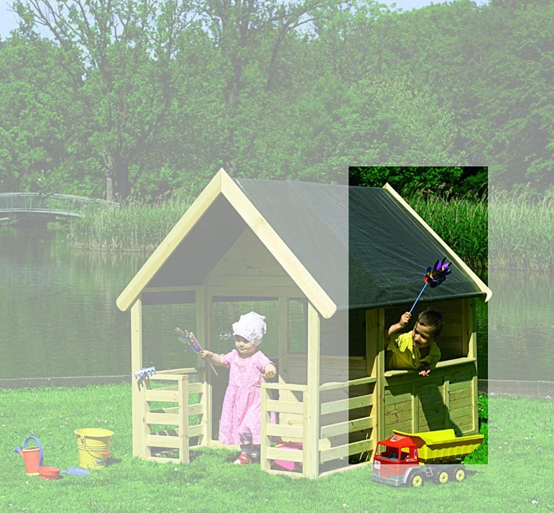 Beauty.Scouts Outdoor Dino Collection Spielhaus Sonja, Kiefer, Natur, 146 x 130 x 166 cm, Kinderspielhaus, Gartenspielhaus, Garten, Spielehaus, Gartenausstattung, Garteneinrichtung