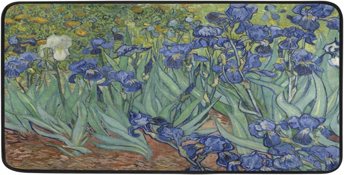 AUUXVA YOZON Kitchen Mat Rug Van Gogh Iris Flower Non Slip Doormat Indoor Outdoor Entrance Welcome Door Floor Mats Runner Area Rugs Home Decor 39 x 20 inch
