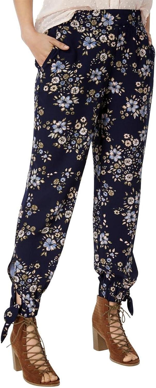 Maison Jules Womens FloralPrint AnkleTie Harem Casual Pants