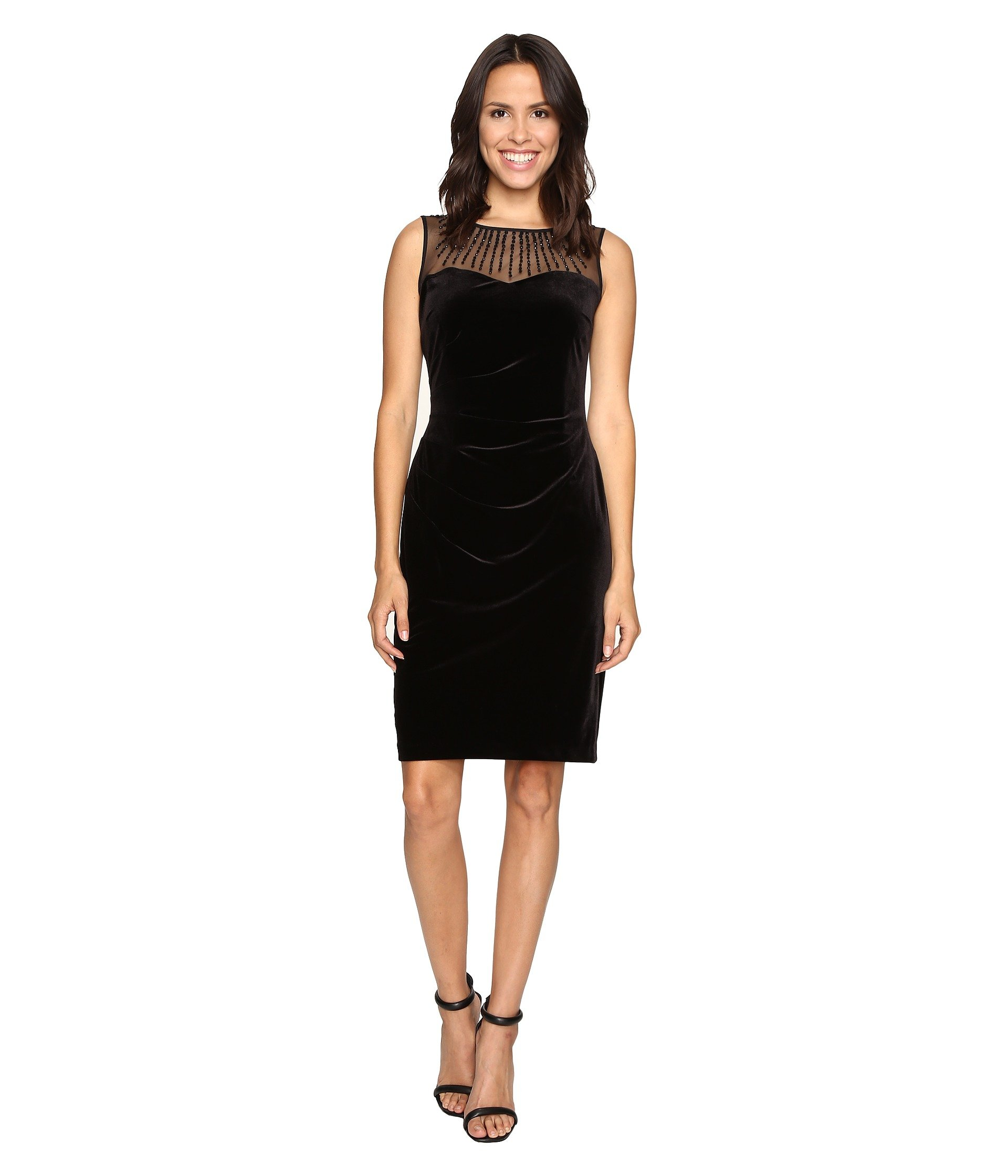 ELLEN TRACY Velvet Dress W/ Neckline Embellishment, Black