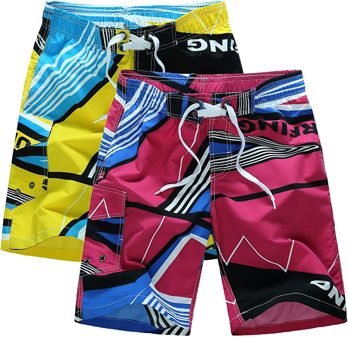 Kolongvangie Men's Casual Colorful Art Print Beach Boardshorts Quick Dry Swim Trunks with Mesh Lining