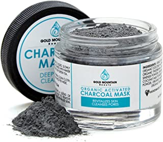 Activated Charcoal with Dead Sea Mud Clay Powder Face Mask, Organic and Natural Ingredients like Bentonite Indian Healing Clay, Remove Blackhead, Minimize Pores and Fight Acne - 5X Safer than Peel-Off