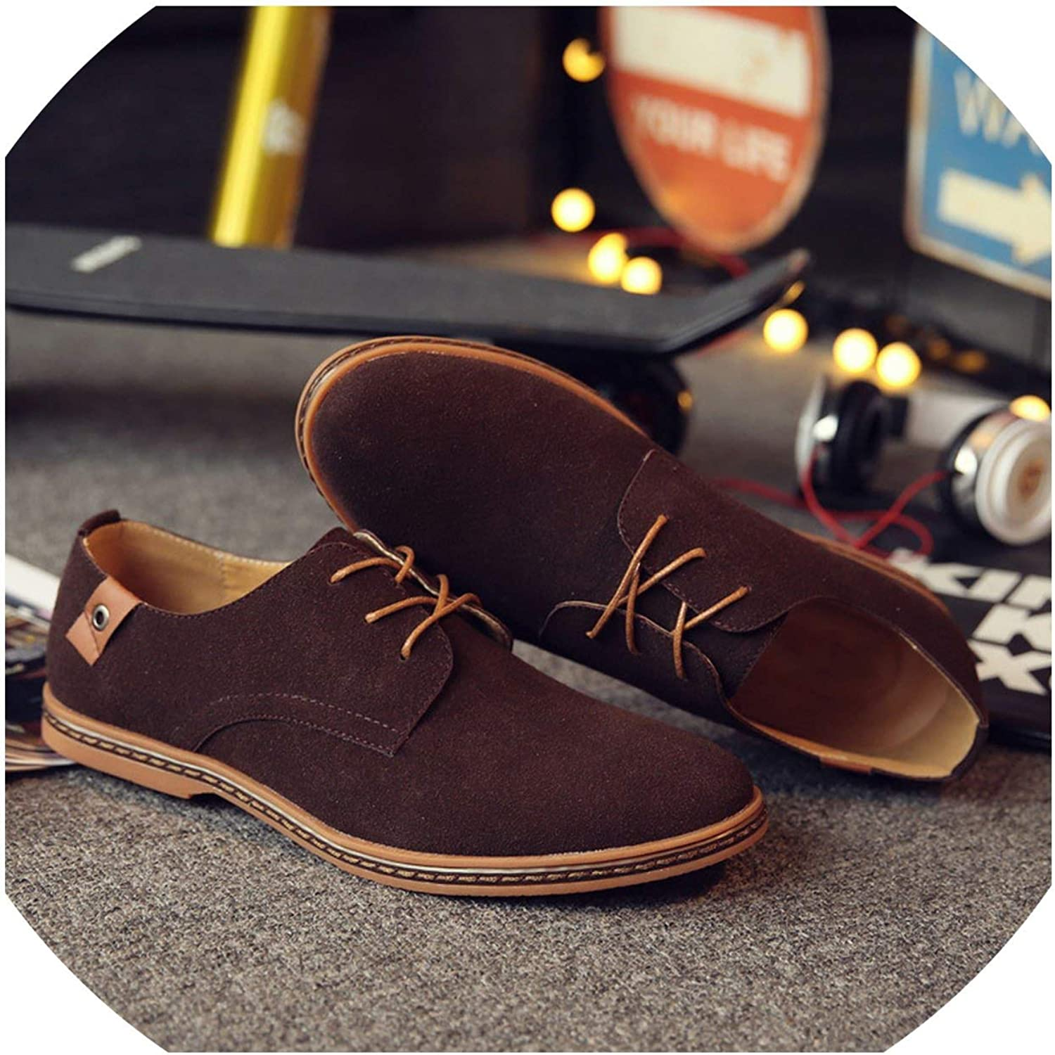 WBeauty Flats Lace Up Male Suede Oxfords Leather shoes Men's Sneakers