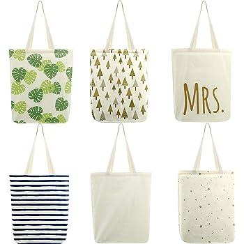 6 Paquetes Bolsas de Tote de Compras de Comestibles de Algodón Reutilizable Bolsas de Compras de Lona con Manejas para Compras, Comestibles, Libros, 16,5 x 15 x 4 Pulgadas: Amazon.es: Hogar