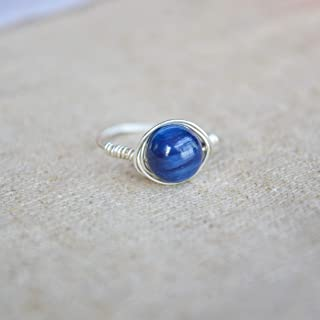 Kyanite Gemstone Natural Stone Birthstone Solitaire 925 Sterling Silver Wire Wrapped Rings