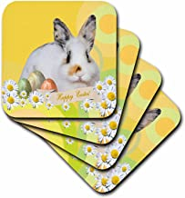 3dRose cst_174064_1 Calico Bunny Rabbit with Daisy Flowers and Three Easter Eggs, Happy Easter-Soft Coasters, Set of 4
