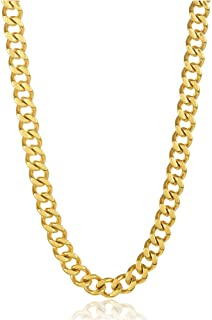 Gold Plated Stainless Steel 4.5-5MM Cuban Curb Link Chain Necklace-Stainless Steel Necklace and Gold Plated Chain