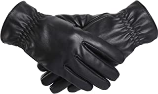Touchscreen Leather Gloves, Lined Winter Driving Gloves for Men