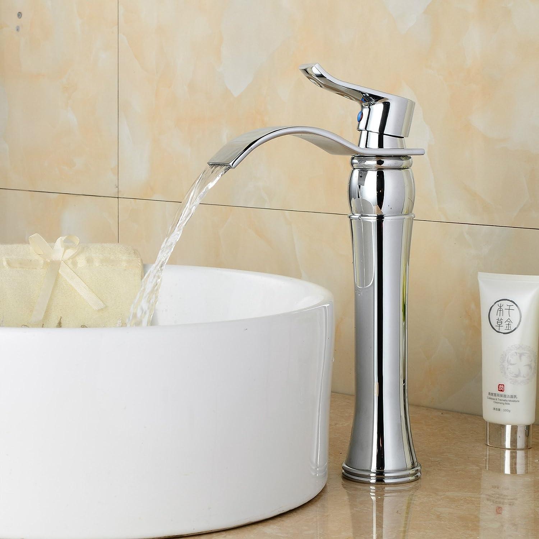 Bijjaladeva Wasserhahn Bad Wasserfall Mischbatterie WaschbeckenDie Messing Chrom Badezimmer Waschtisch Armatur Mischen von heiem und kaltem Wasser Armaturen Versilbert fllt von